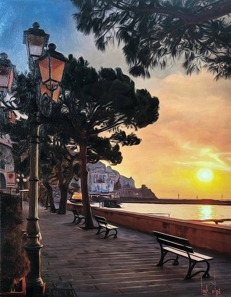 Sorry, a visual representation of Lee Colpi's work entitled, Amalfi Coast at Sunset failed to load.  Please try again later or contact Lee Colpi for more information about this work.